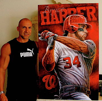 Bryce Harper Original painting Sold by Sports Art World Wide John Prince