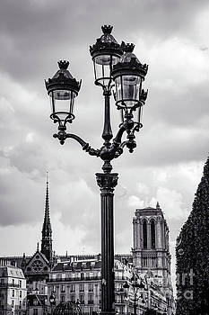 Bubbles Near Notre Dame Black and White by Marina McLain