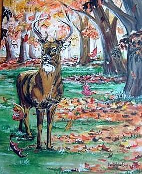 Buck In Leaves by Merideth Van Every