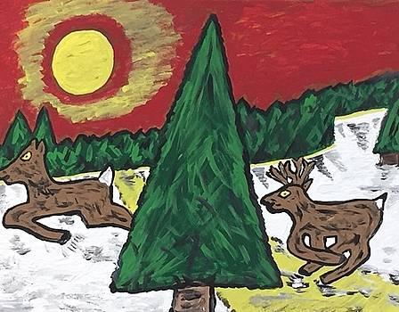 Buck on the run by Jonathon Hansen