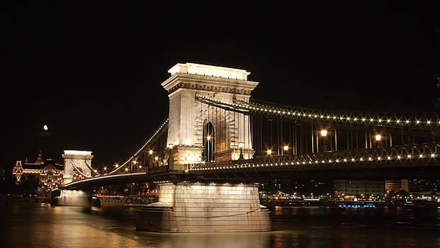 Budapest bridge at night by Victoria Savostianova