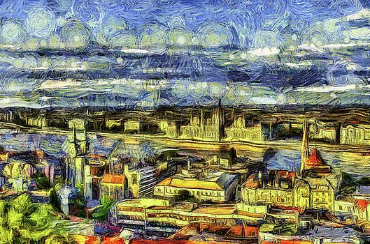 Budapest City Vincent Van Gogh by David Pyatt