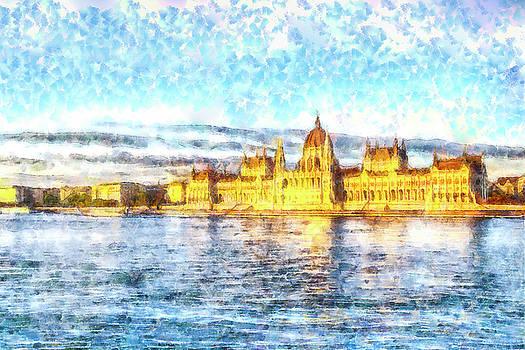 Budapest Danube Sunset Watercolour by David Pyatt