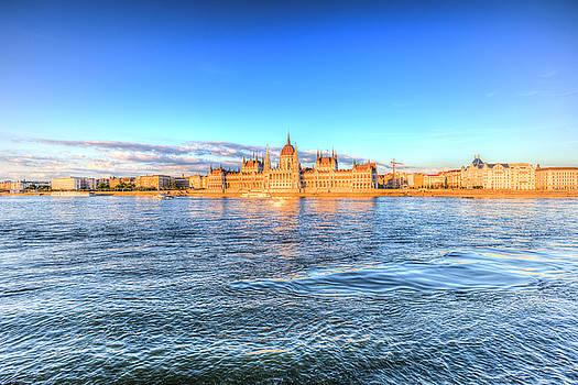 Budapest River Danube Sunset by David Pyatt