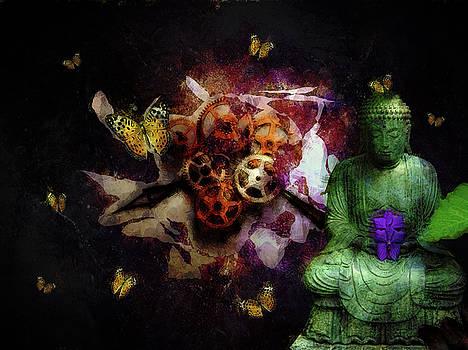Buddha and butterflies by John Stuart Webbstock