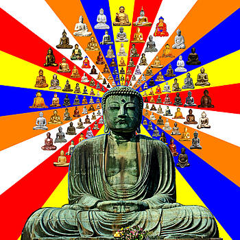 Buddha Collage with Buddhist Flag colors by Tin Tran
