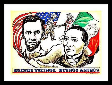 Peter Ogden - Buenos Vecinos Buenos Amigos 1944 Mexican American Friendship by Pablo O Higgins