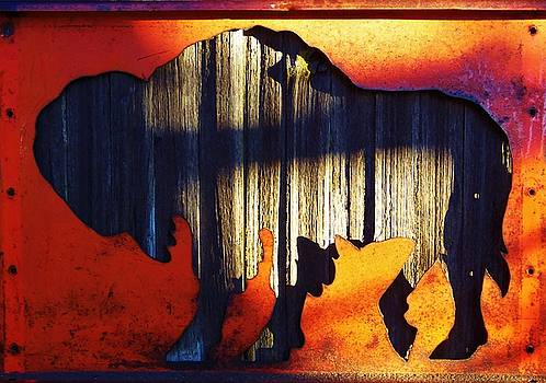 Wooden Buffalo 4  by Larry Campbell