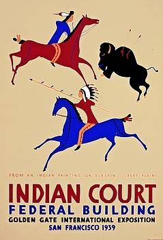 Buffalo hunt from an Indian painting on elkskin, 1939 by Vintage Printery