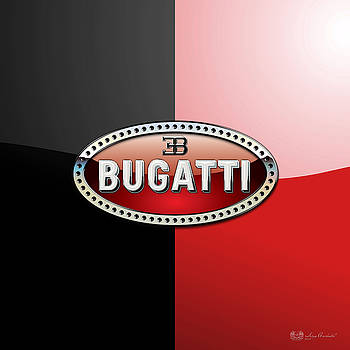 Serge Averbukh - Bugatti 3 D Badge on Red and Black