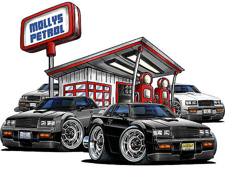 Buicks at Mollys Gas Station by Maddmax
