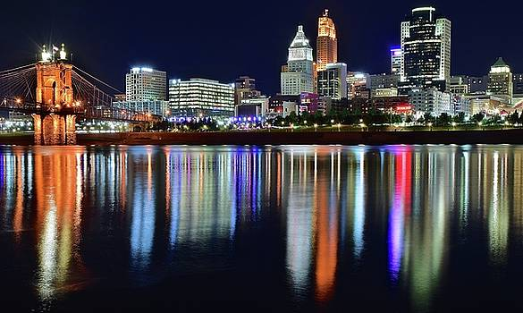 Building Lights Shimmer in Cinci by Frozen in Time Fine Art Photography