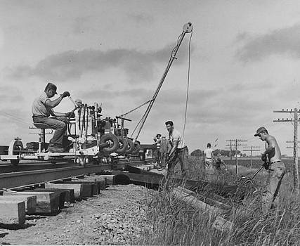 Chicago and North Western Historical Society - Building Train Tracks - 1957