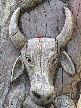 John Malone - Bull Carved in Tree
