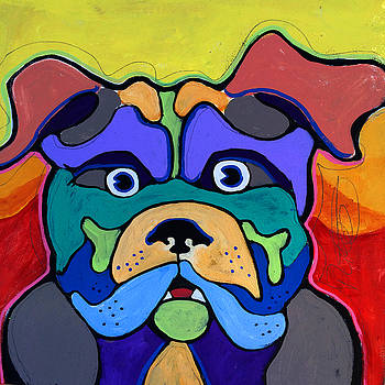 Bull Dog - Don't Give Me Your Lines , and Keep Your Hands to YOURSELF by Robert R Splashy Art Abstract Paintings