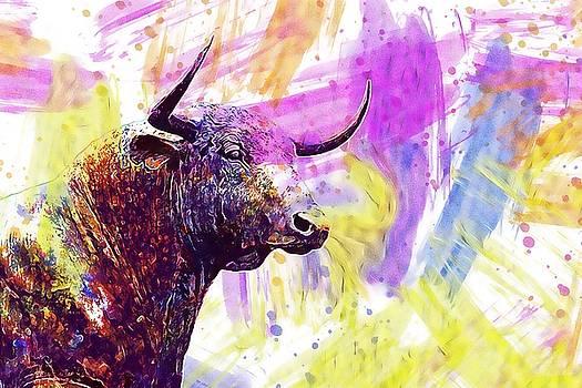 Bull Sculpture Ox Horns Animal  by PixBreak Art