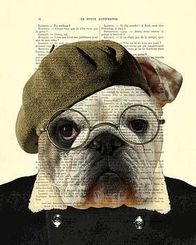 Bulldog portrait, animals in clothes by Madame Memento