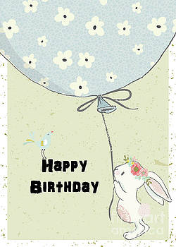 Bunny and Big Balloon by Pam  Holdsworth
