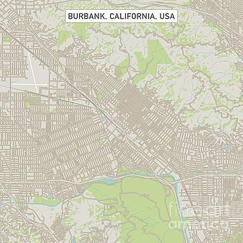 Burbank California US City Street Map by Frank Ramspott