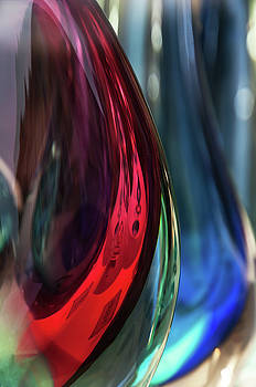 Burgundy Emerald Glass Abstract by Jenny Rainbow