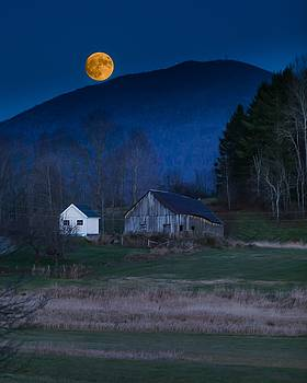 Burke Barn and Super Moon by Tim Kirchoff