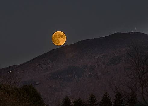 Burke Mountain and Super Moon by Tim Kirchoff