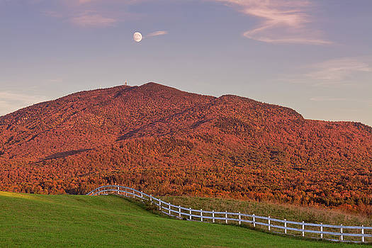 Burke Mountain Autumn Moonrise by Alan L Graham