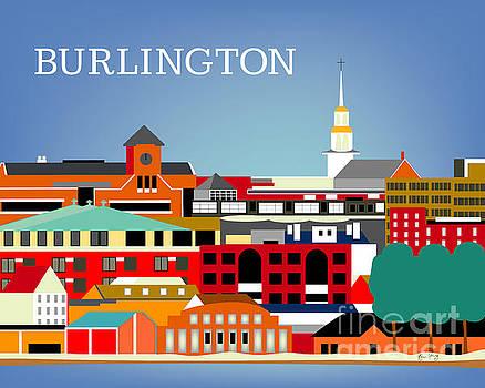 Burlington Vermont Horizontal Skyline by Karen Young
