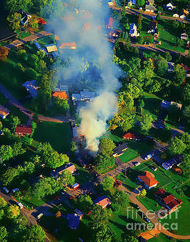 Burnin down the house Aerial single family home on fire  by Tom Jelen