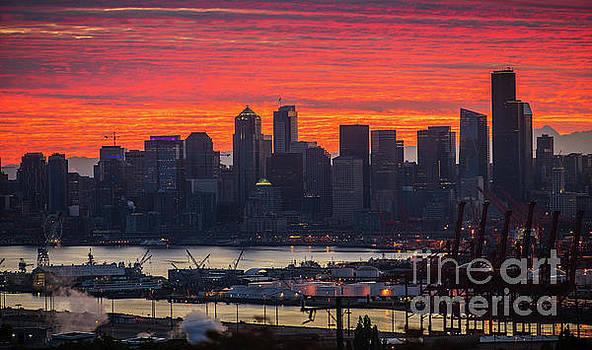 Burning Seattle Cityscape Sunrise by Mike Reid
