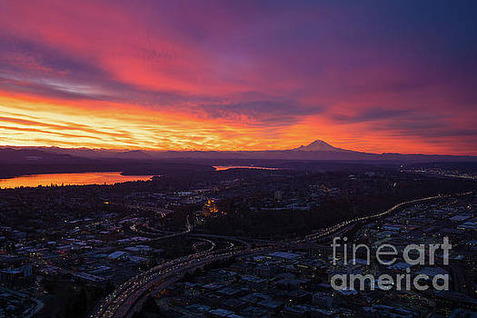 Burning Sunrise Skies Above Seattle and Mount Rainier by Mike Reid
