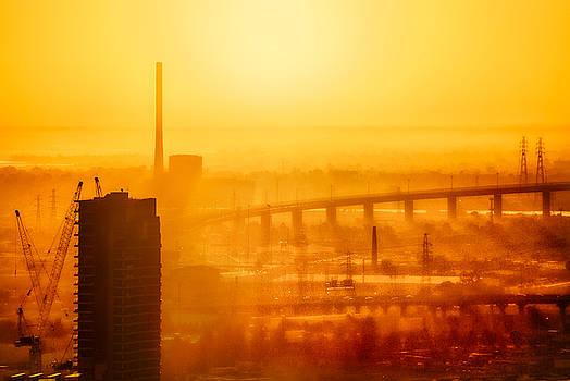 Burning Sunset Through Smog by Ray Warren