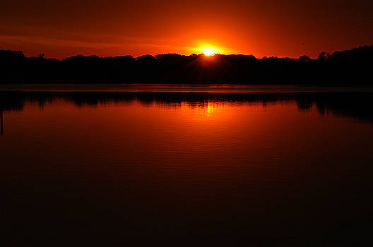 Clayton Bruster - Burnt Orange Sunset On Water