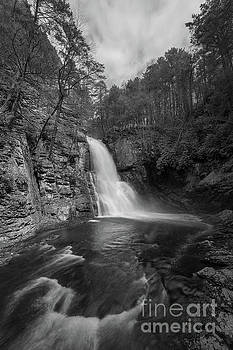 Bushkill Falls from the Gorge BW  by Michael Ver Sprill
