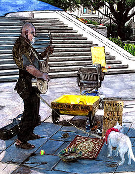 Busker with Dog by John Boles