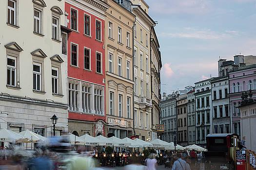 Busy Main Square Krakow Poland by Steve Gadomski
