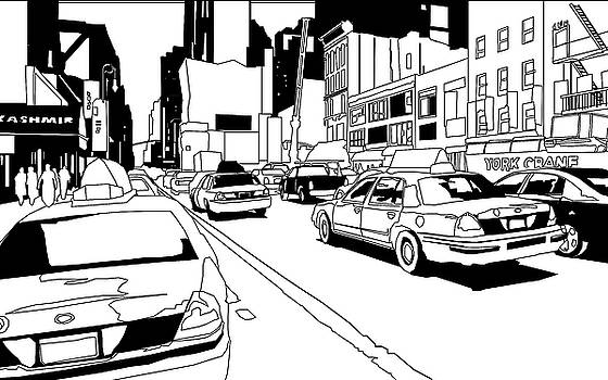 Busy New York City street with traffic by Adz Akin