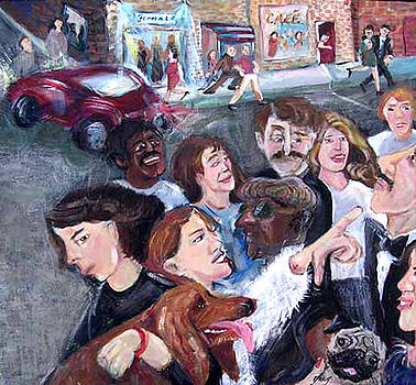 Busy Street with People by Barbara Yalof