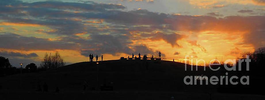 Felipe Adan Lerma - Butler Park Sunset Silhouette Austin Texas - One Panorama