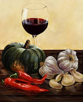 Buttercup Squash Soup and Wine by Cassandra Gallant