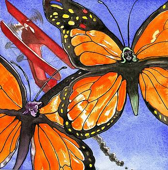 Butterflies and Biplane by Robert  Myers