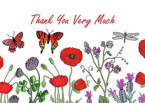 Irina Sztukowski - Butterflies And Wildflowers Thank You Card Design