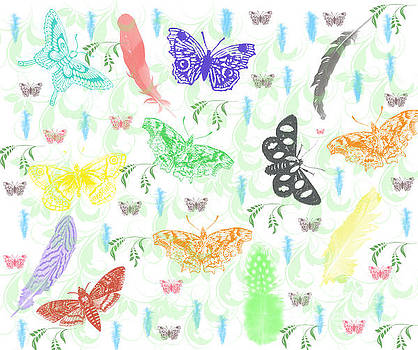 Butterflies Feather and Vines by Scott Hervieux