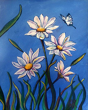 Butterfly and Daisies by Art by Kar