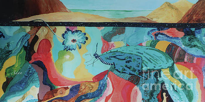 Felipe Adan Lerma - Butterfly and Hand Surreal Abstract Panorama