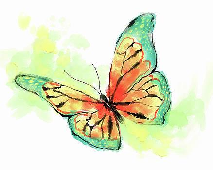 Butterfly digital watercolor painting by Konstantin Kolev