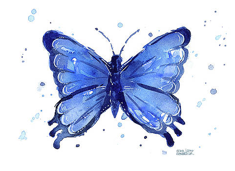 Butterfly Watercolor Blue by Olga Shvartsur
