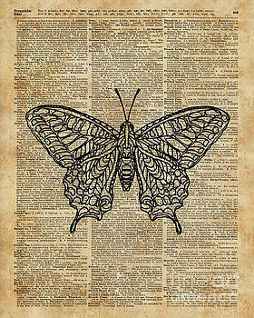 Butterfly Zentagle Vinatge Dictionary Art by Anna W
