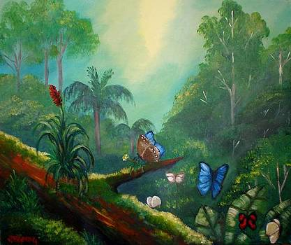 Butterflyes in the wild tropical forest by Jean Pierre Bergoeing