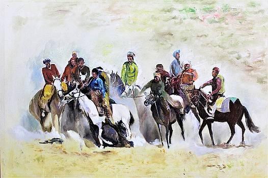 Buzkashi sport by Khalid Saeed